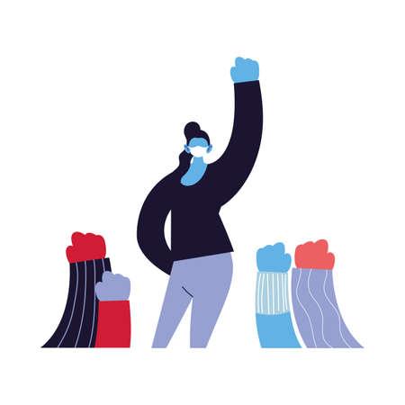 empowered women using face masks vector ilustration Vettoriali
