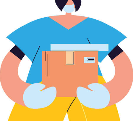 Courier with mask, gloves and packages to deliver vector illustration desing 일러스트