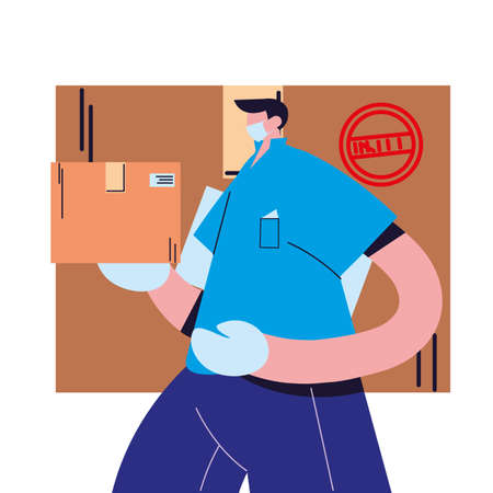 male courier with mask and packages to deliver vector illustration desing 일러스트