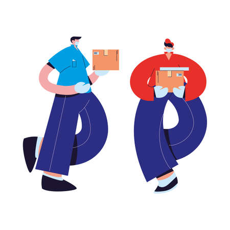 couriers with mask, gloves, and shipping packages vector illustration desing