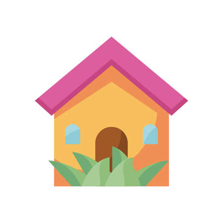house and garden icon over white background, silhouette style, vector illustration Banco de Imagens - 150288193
