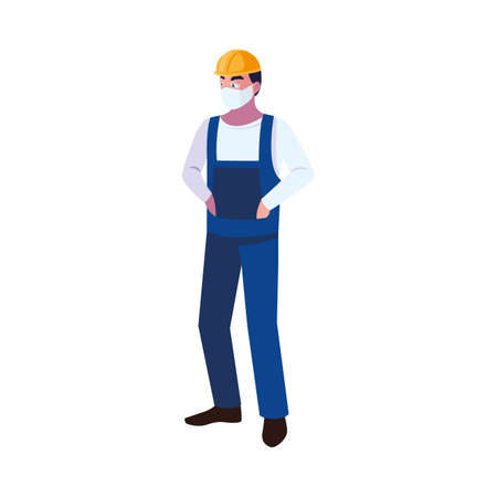 Industry operator wearing face mask at work vector illustration design