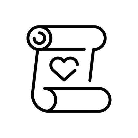 parchment with heart icon over white background, line style icon, vector illustration