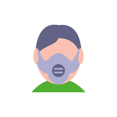 Man with mask design, Pollution factory environment dirty danger industry plant chemical and toxic theme Vector illustration