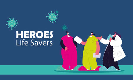 medical women heroes working against the coronavirus with masks and medical kit vector illustration design 矢量图像