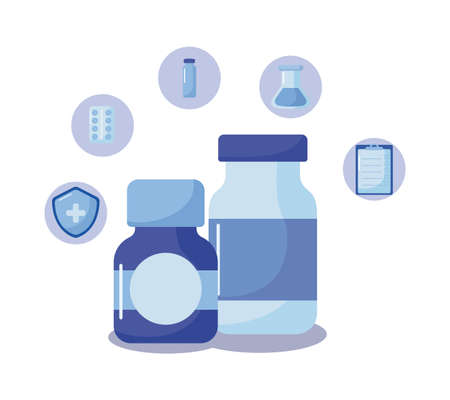 medications medical supplies, vaccination and health vector illustration design