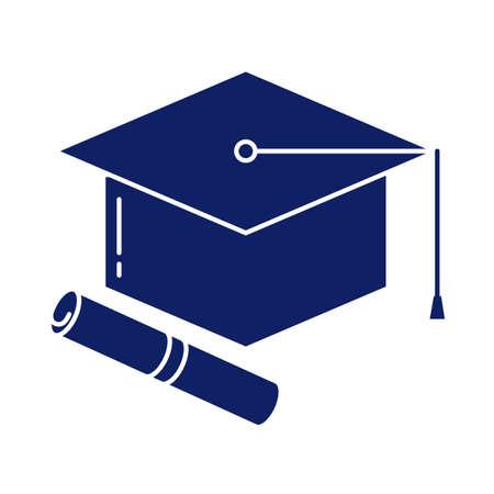 graduation cap and diploma, silhouette style icon vector illustration design Foto de archivo - 150295166