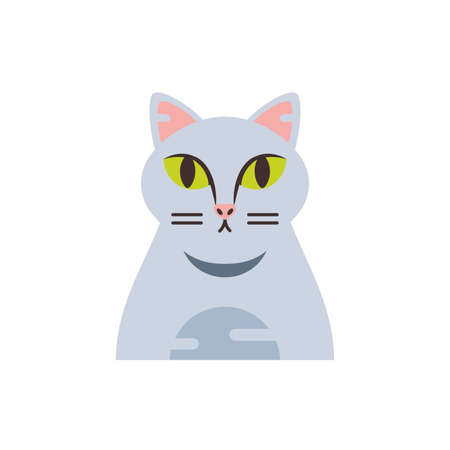 Cute grey cat cartoon design, Animal pet kitten domestic feline kitty mammal beautiful and portrait theme Vector illustration