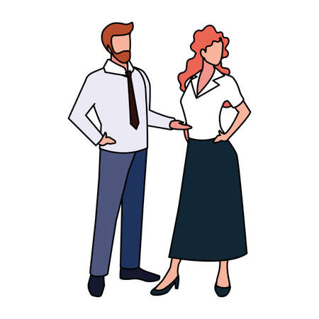 business couple standing on white background vector illustration design Ilustração