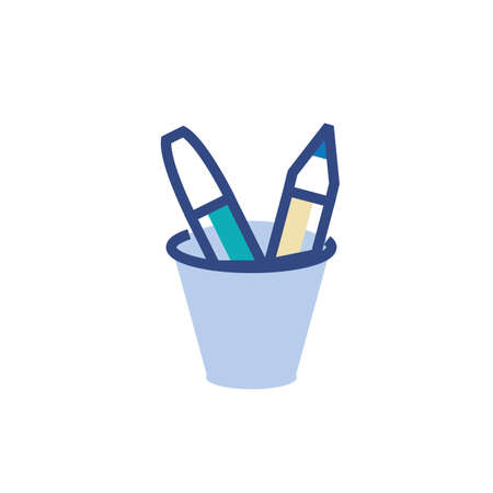 Pencils inside mug design, Tool write office object instrument equipment draw art and learn theme Vector illustration Ilustração