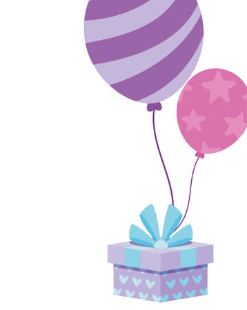 Gift and balloons design, happy birthday celebration decoration party festive and surprise theme Vector illustration Foto de archivo - 150295293