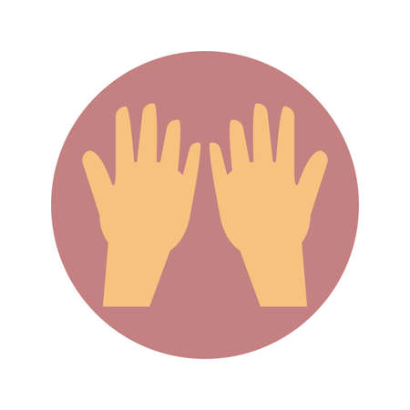 human hands icon over white background, block style, vector illustration