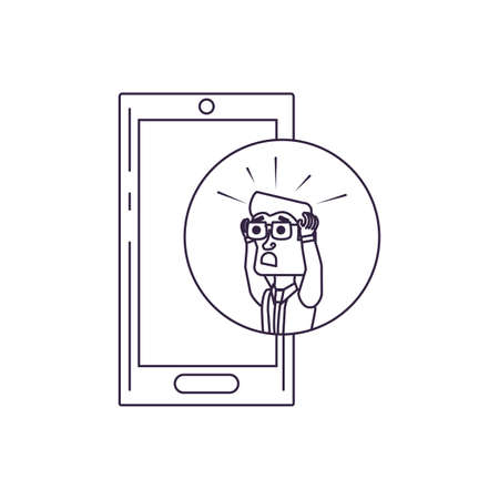 businessman stressed in frame circular with smartphone vector illustration design