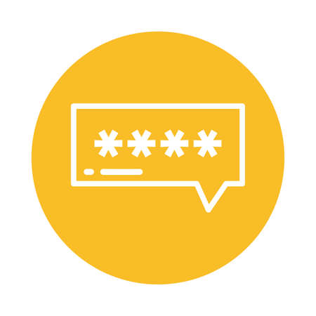 speech bubble password, block and flat style icon vector illustration design