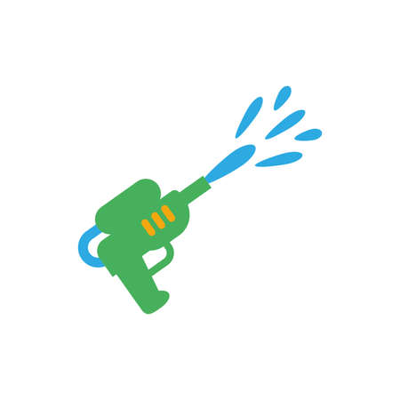 water gun toy over white background, flat style icon, vector illustration