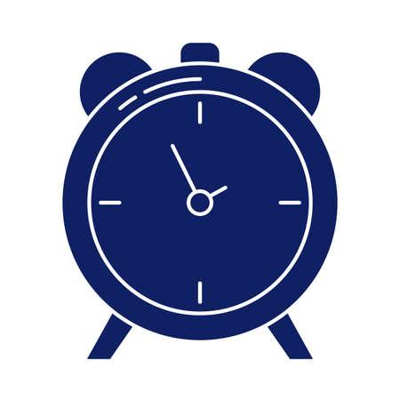 alarm clock, silhouette style icon vector illustration design