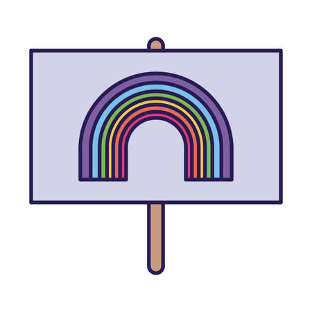 lgtbi flag with rainbow fill style icon design, Pride day orientation and identity theme Vector illustration