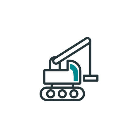 crane truck design, Construction work repair reconstruction industry build and project theme Vector illustration