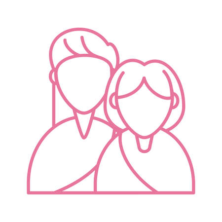 grandmother and daughter woman, line style icon vector illustration design