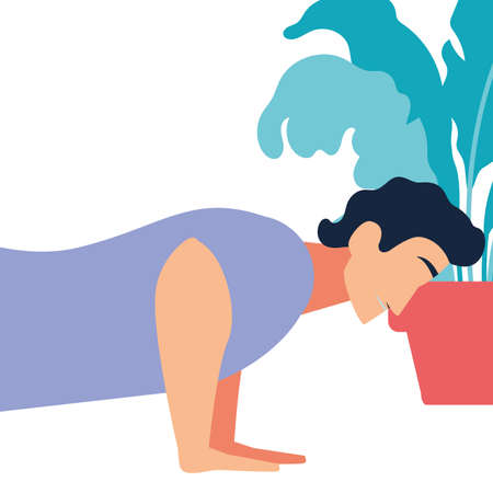 woman doing muscle exercises at home vector illustration design