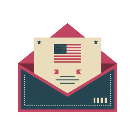 post card with postage stamp with USA flag on white background vector illustration design Illustration