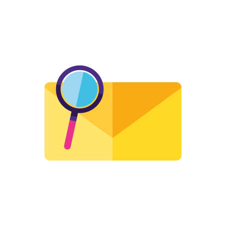 envelope mail with magnifying glass vector illustration design Foto de archivo - 150325751