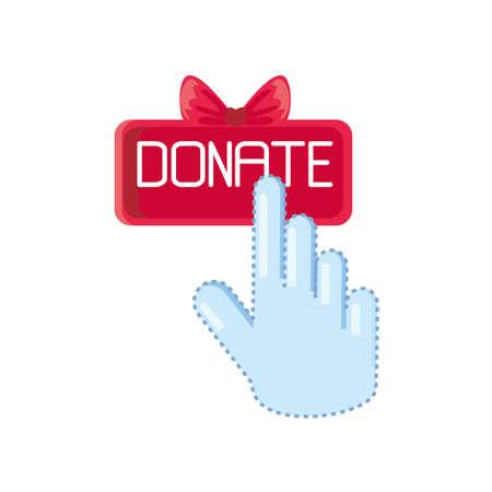 hand on donate button on white background vector illustration design Çizim