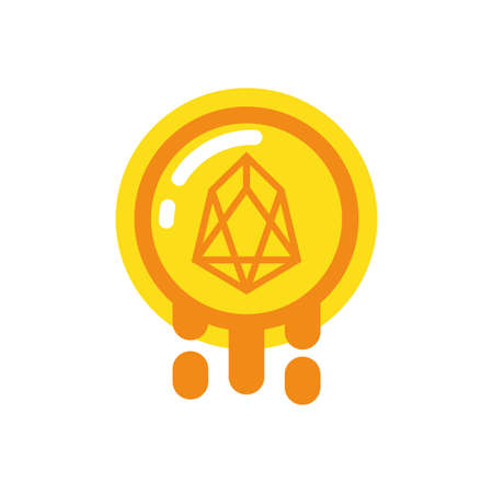 Eos coin design of Cryptocurrency money currency exchange financial bank web internet market electronic finance and net theme Vector illustration