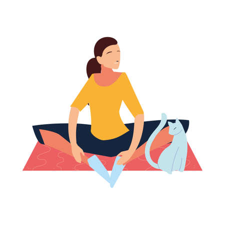 woman doing stretching exercises in the company of her pet vector illustration design