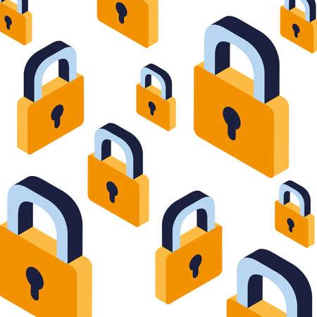 pattern of security padlock on white background vector illustration design