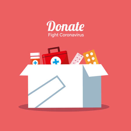 donation of boxes with medicines vector illustartion desing Vecteurs