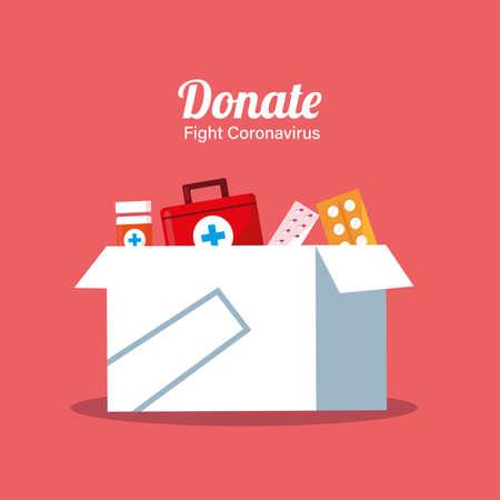 donation of boxes with medicines vector illustartion desing Vektoros illusztráció