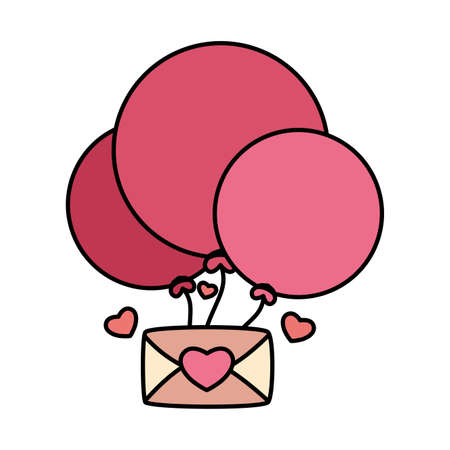envelope with helium balloons in white background, valentines day card vector illustration design Foto de archivo - 150355213