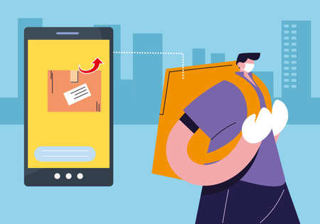 courier delivery service with smart phone, tracking of packages vector illustration desing