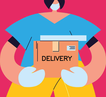 woman with face mask receiving safe delivery package vector illustration design Foto de archivo - 150380960