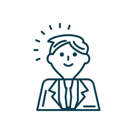cartoon businessman icon over white background, line style, vector illustration