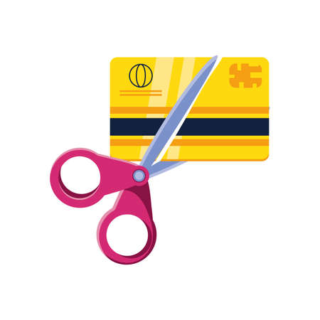 scissors cutting credit card on white background vector illustration design Vectores