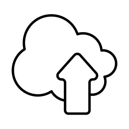 Cloud computing and upload arrow line style icon design, Communication internet and connectivity theme Vector illustration