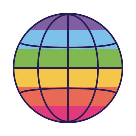 lgbt global sphere fill style icon design, Pride day sexual orientation and identity theme Vector illustration Ilustração