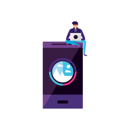 young man using laptop with smartphone vector illustration design Çizim
