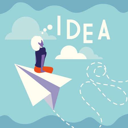 businesswoman with idea label, people and ideas vector illustration design Foto de archivo - 150381417