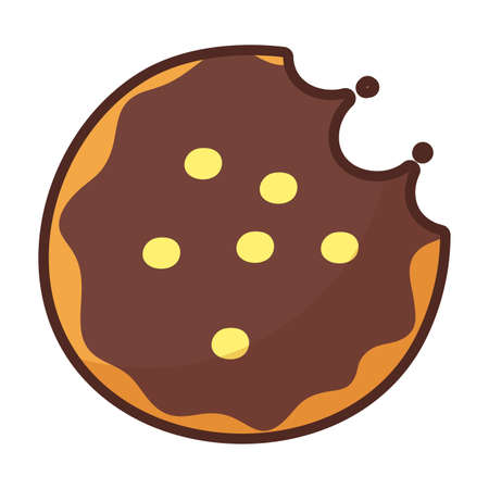 chocolate cookie on white background vector illustration design
