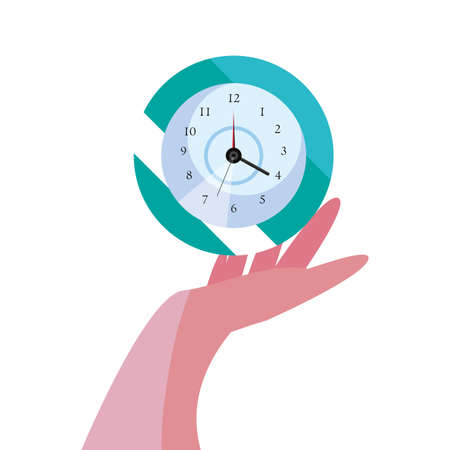 hand with round clock time vector illustration
