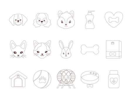 set of icons with domestic animals and accessories, line style icon vector illustration design