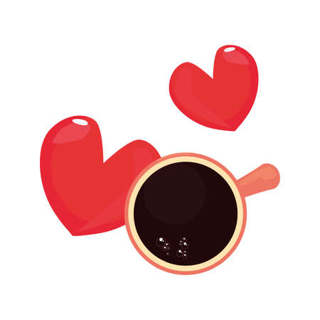 coffee cup heart love top view happy fathers day vector illustration