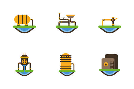 Fracking icon set design, Oil industry fuel technology power industrial production and petroleum theme Vector illustration Ilustrace