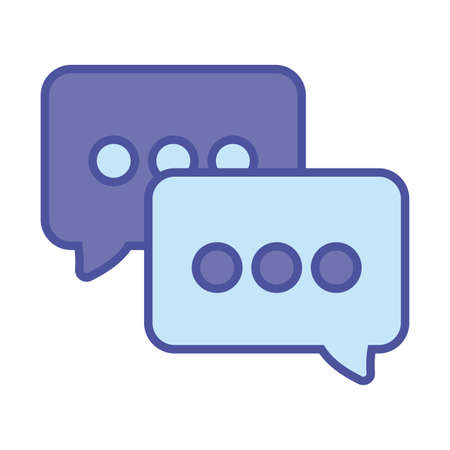 Communication bubbles line and fill style icon design, Message discussion and conversation theme Vector illustration