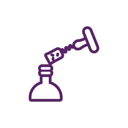 Wine bottle and corkscrew design, Winery alcohol drink beverage restaurant and celebration theme Vector illustration