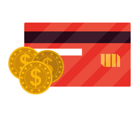 coins money with credit card vector illustration design