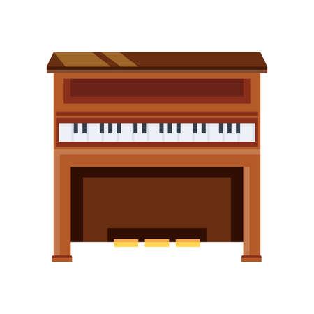wooden piano on white background vector illustration design Illustration